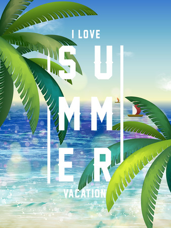 Summer poster design - attractive tropical resort scenery Illustration