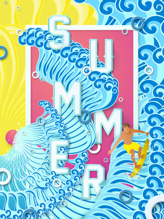 granola: Diseño del cartel del verano - emocionados surf de olas grandes