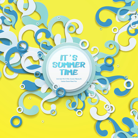 summer time: Its summer time - summer poster design with blue waves and tides