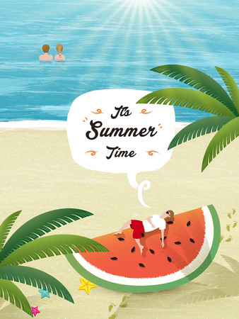 Summer poster design - watermelon and beach scenery