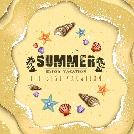 beach view: Summer poster design - top view of beautiful beach resort