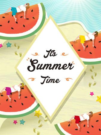 footprint sand: Summer poster design - watermelon and beach scenery