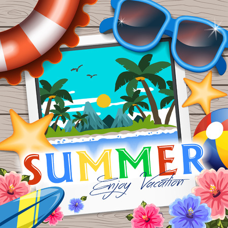 stuffs: Delightful summer poster design - summer related stuffs placed on wooden table