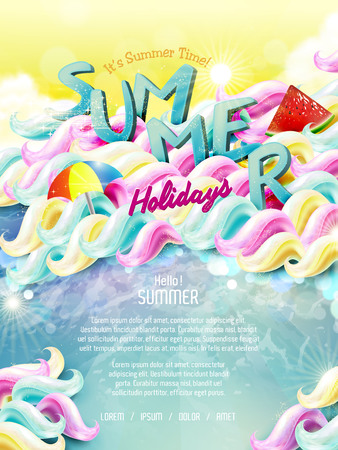 summer holiday: Summer holiday poster design with colorful elements