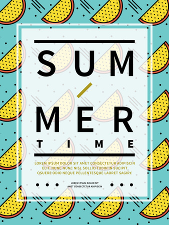 Trendy summer poster design - yellow watermelon pattern over turquoise background