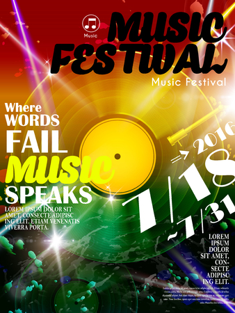 Attractive music festival poster with vinyl record elements Illustration