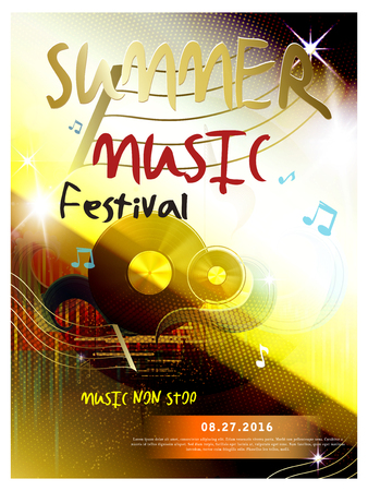 Summer music festival poster with vinyl record and music note elements