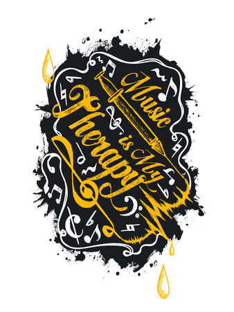 music therapy: Music is my therapy - music concept lettering design