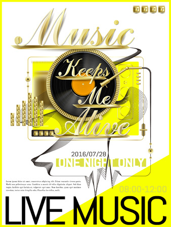 Modern live music poster with vinyl record elements Illustration