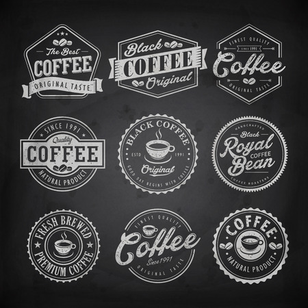 Retro coffee shop label design isolated on blackboard