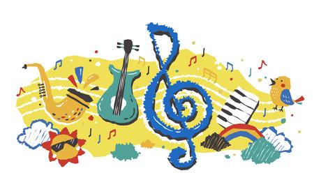 음악과 악기의 귀여운 다채로운 요소 일러스트