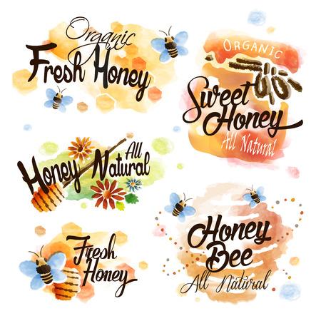 abeja: etiqueta preciosa miel establecido con el panal y las abejas en el estilo de la acuarela Vectores