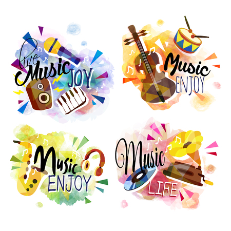 음악과 악기 세트 다채로운 요소 일러스트