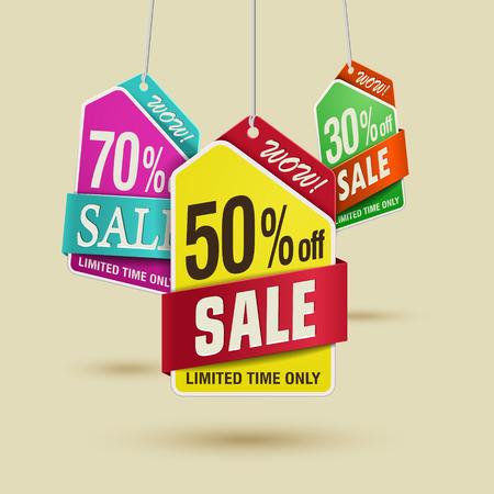 bargain sale: Bargain sale discount label template design in multiple color