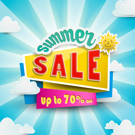 Summer bargain sale poster design with discount label