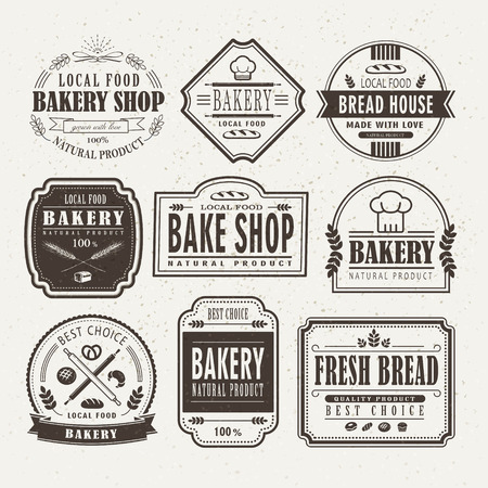 bake sale sign: Retro bakery label design set in brown outline