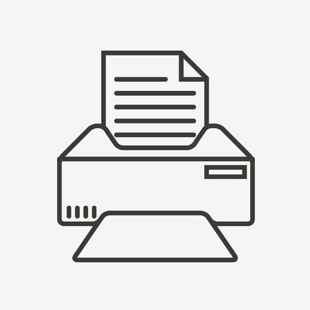 fax icon: fax and print icon in brown outline