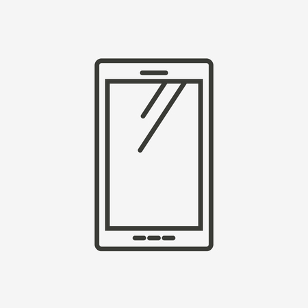 mobile cartoon: satellite icon in brown outline for application or decoration Illustration