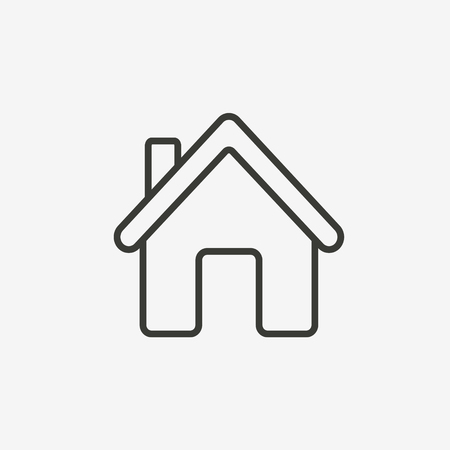 HOUSES: house or home icon of brown outline for illustration