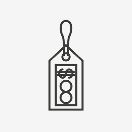 shopping malls: dollar label icon of brown outline for illustration Illustration