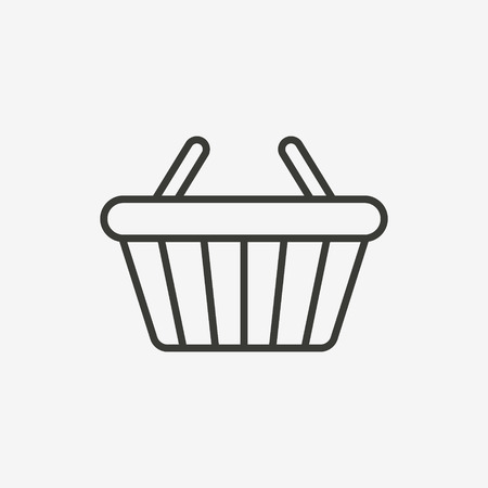 basket icon: shopping basket icon of brown outline for illustration