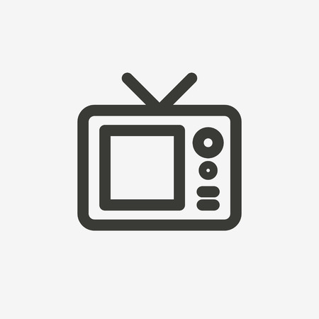 television icon: television icon of brown outline for illustration Illustration