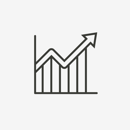 graph icon: chart graph icon of brown outline for illustration Illustration