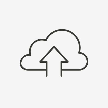 cloud icon: upload cloud icon of brown and thin outline Illustration