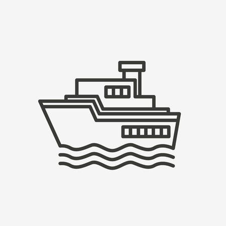 sea transport: ship boat icon of brown outline for illustration Illustration