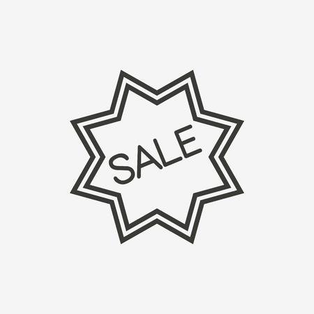 sale badge icon of brown outline for illustration Illustration