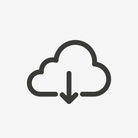 download cloud icon of brown outline for illustration 版權商用圖片 - 60839309