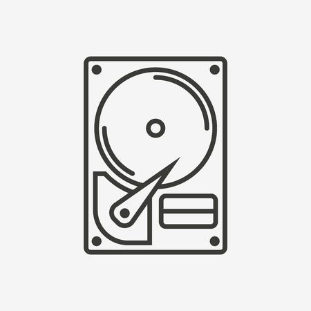 harddisk: hard drive disk hdd icon in brown outline