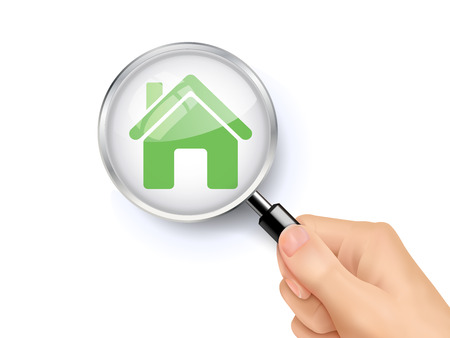 lupa: 3D illustration of magnifying glass over the house icon
