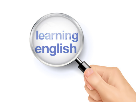 learning english: 3D illustration of magnifying glass over the words of learning English Illustration