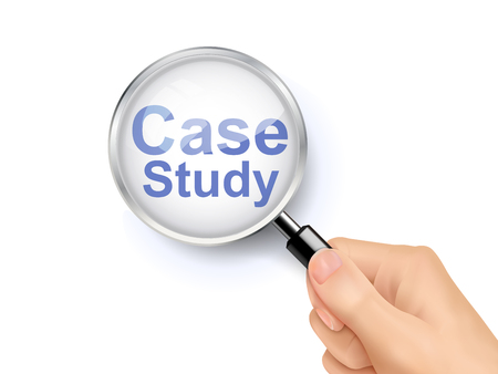 study icon: 3D illustration of magnifying glass over the words of case study Illustration