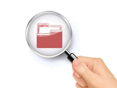 company job: 3D illustration of magnifying glass over the folder icon