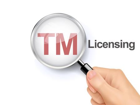 licensing: 3D illustration of magnifying glass over the words of TM licensing Illustration