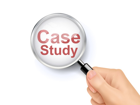 company job: 3D illustration of magnifying glass over the words of case study Illustration
