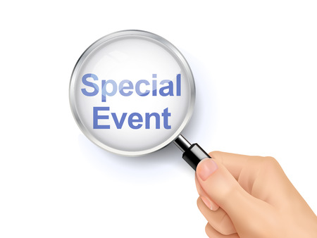 special events: 3D illustration of magnifying glass over the words of special event