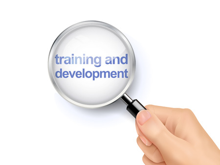 company job: 3D illustration of magnifying glass over the words of training and development Illustration