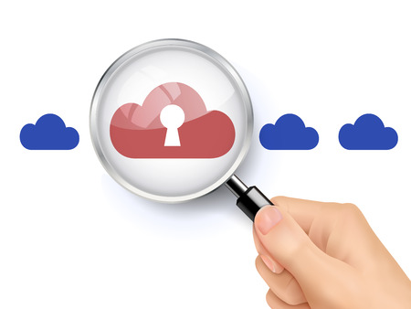 secret word: 3D illustration of magnifying glass over the red cloud icon