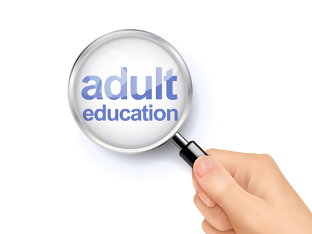 adult education: 3D illustration of magnifying glass over the words of adult education Illustration