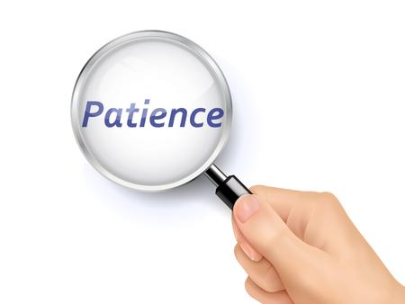 paciencia: Ilustración 3D de la lupa sobre las palabras de la paciencia