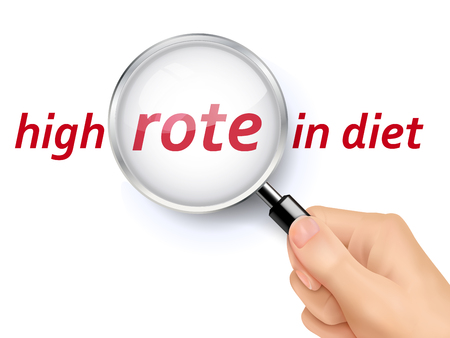 rote: 3D illustration of magnifying glass over the words of high rote in diet