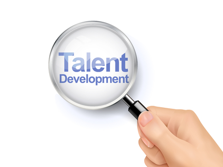 talent: 3D illustration of magnifying glass over the words of talent development Illustration