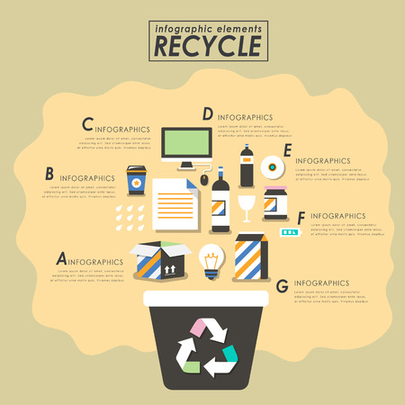 papelera de reciclaje: El reciclaje de diseño plano con una papelera de reciclaje y materiales reciclables Vectores