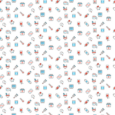 cute background: Medical related symbols seamless pattern design in red and blue