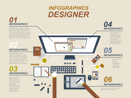 Graphic designer with devices and graphic tablet in flat style