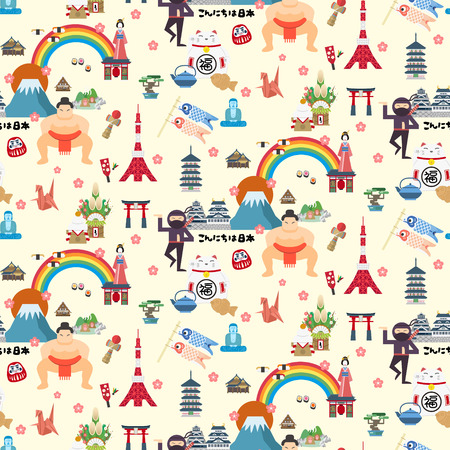 travel japan: Japan travel map seamless pattern design with attractions Illustration