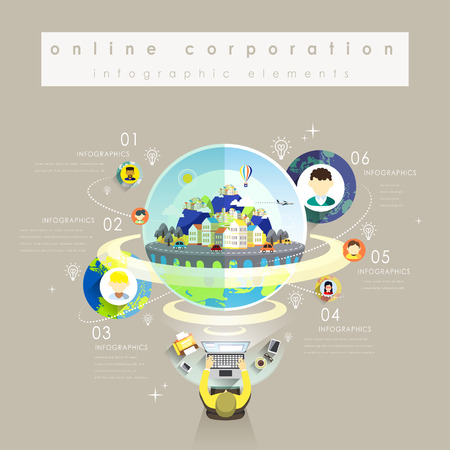 transnational: Online corporation flat design with avatars show through internet
